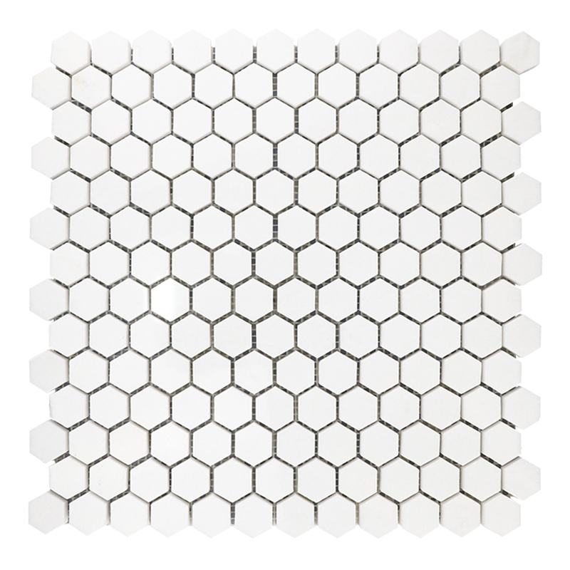 Thassos White 1 inch Hexagon Marble Mosaic