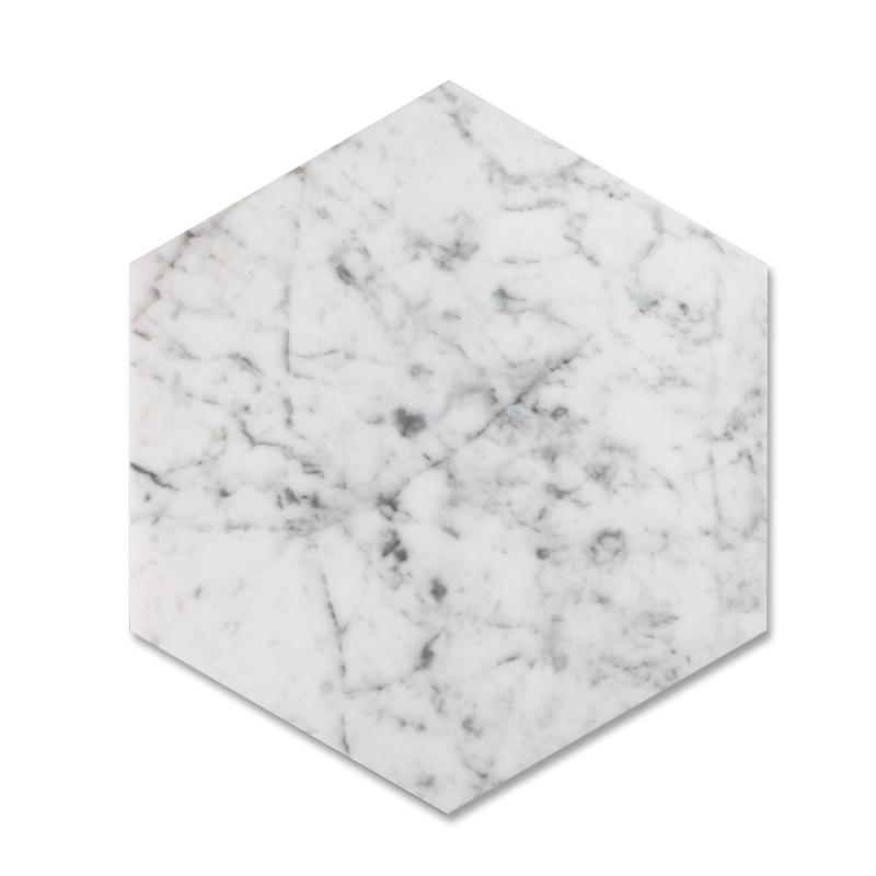 Bianco Carrara 8 inch Hexagon Marble Tile
