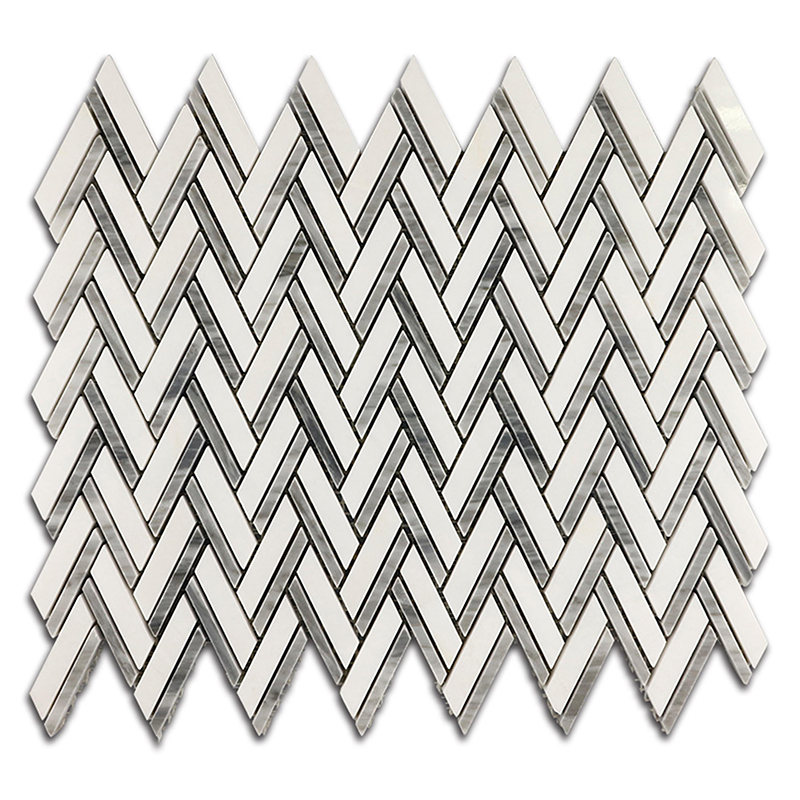 Thassos White and Bardiglio Herringbone Mixed Marble Mosaic