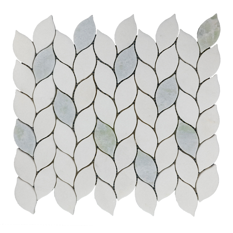 Thassos White and Crystal Blue Leaf Mixed Marble Mosaic