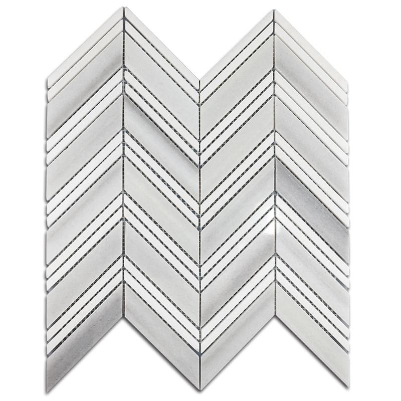 Marmara White and Thassos White Herringbone Mixed Marble Mosaic