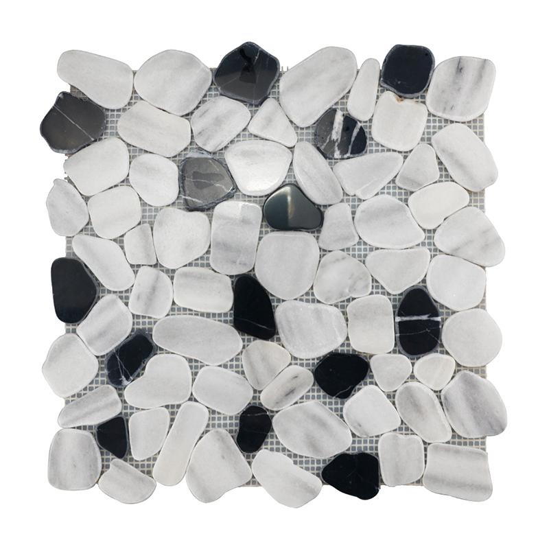 Marmara White and Nero Margiua Pebble-look Marble Mosaic
