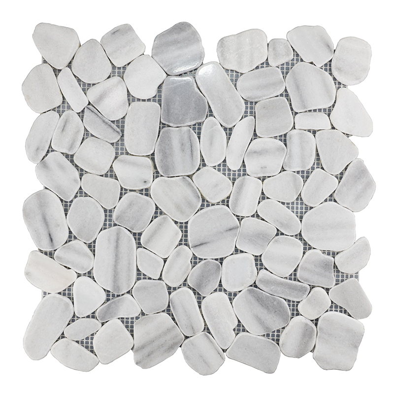 Marmara White Pebble-look Marble Mosaic
