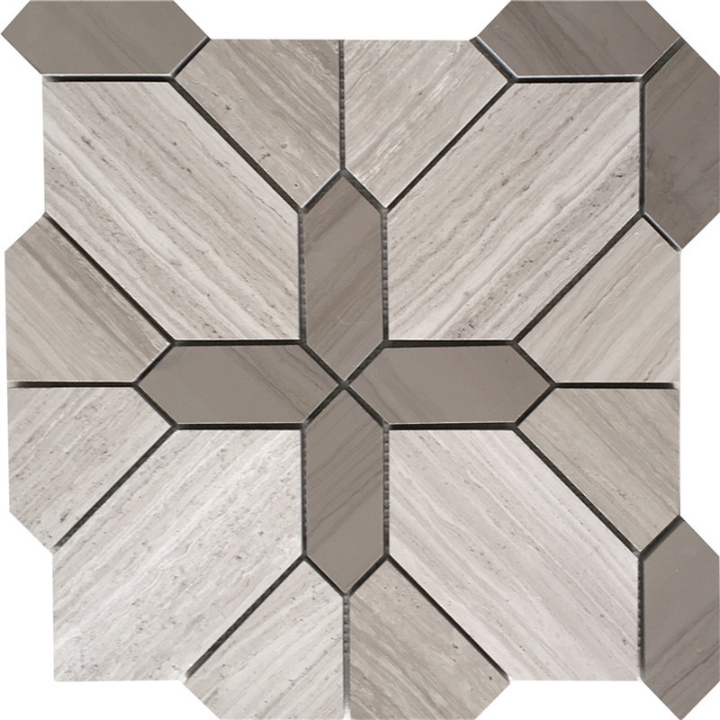 Wooden White Marble Mosaic