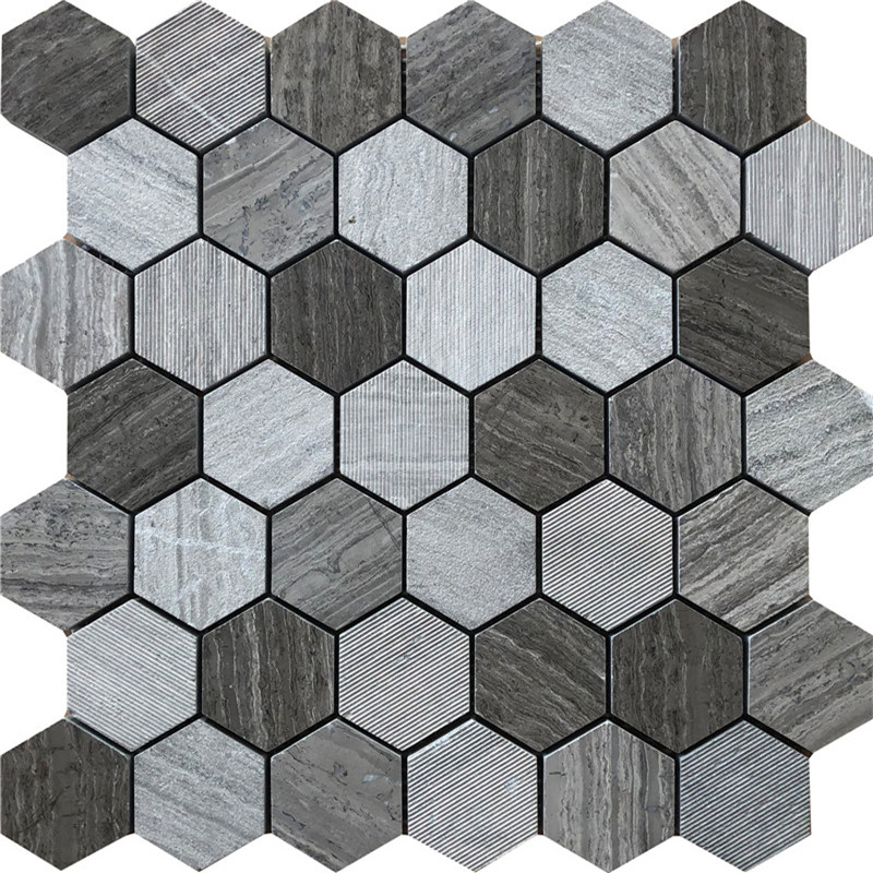 Wooden black Marble Mosaic