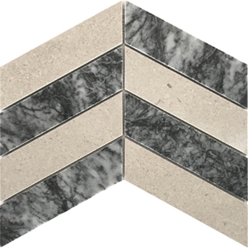 Chevron Mixed Marble Mosaic