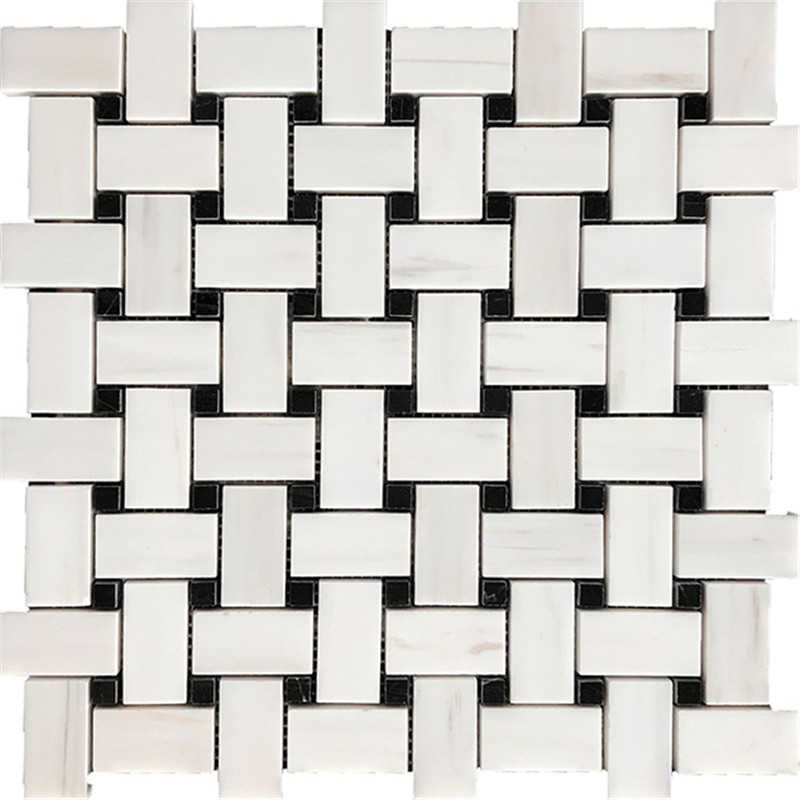 Basketweave Mixed Marble Mosaic